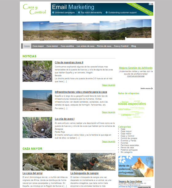 Diseño web de una web de caza