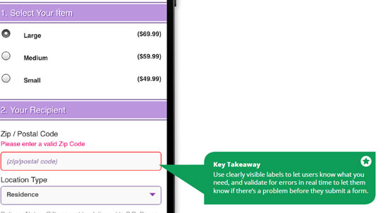 Usabilidad errores formularios