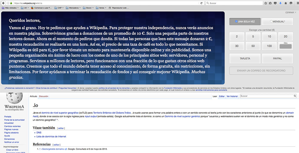 wikipedia diseño donaciones