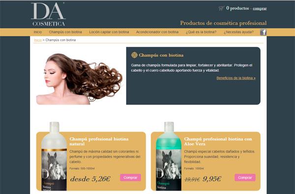 Diseño web venta de champus