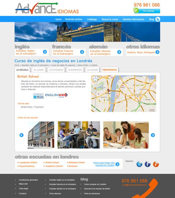 Diseño web cursos de idiomas