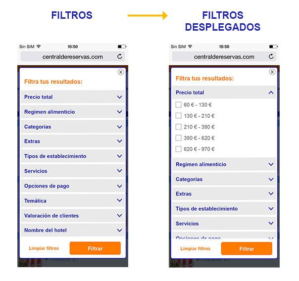 Filtros en una web móvil